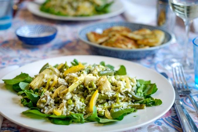 Rijst met artisjok, asperge en ingemaakte citroen