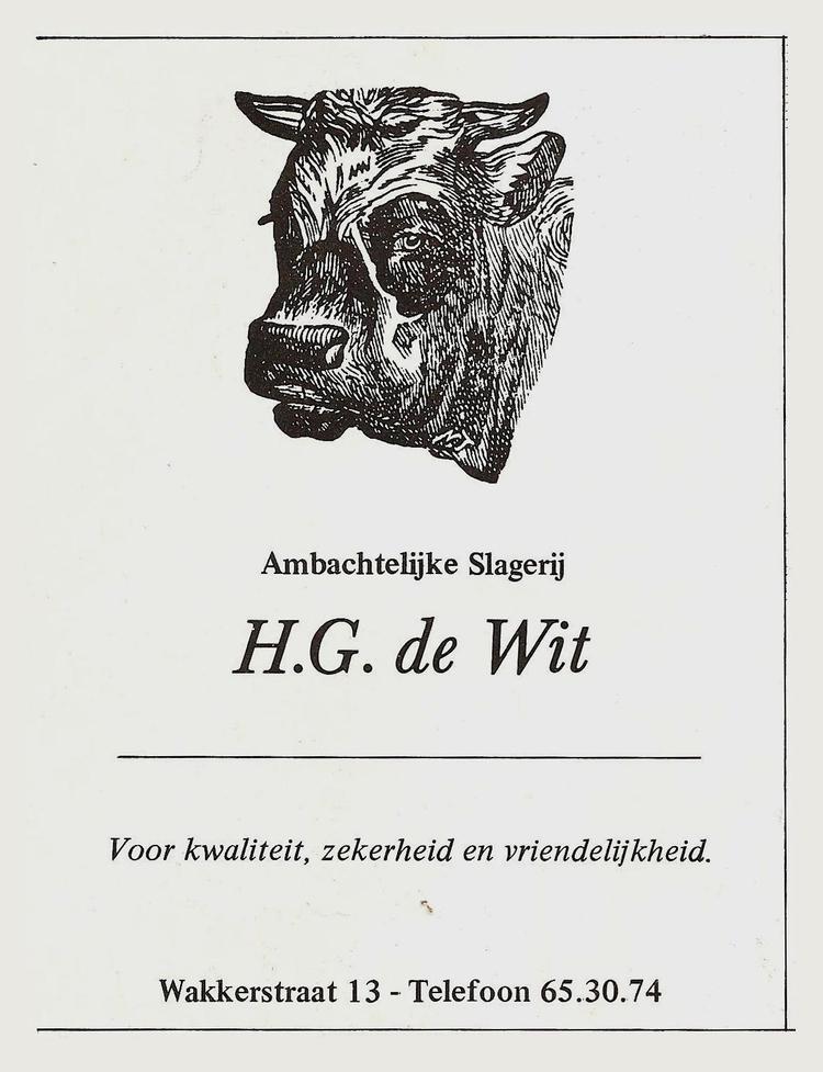 Advertentie Slagerij De Wit