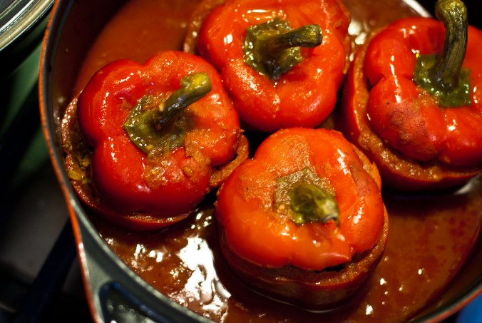 Gevulde paprika met lamsgehakt