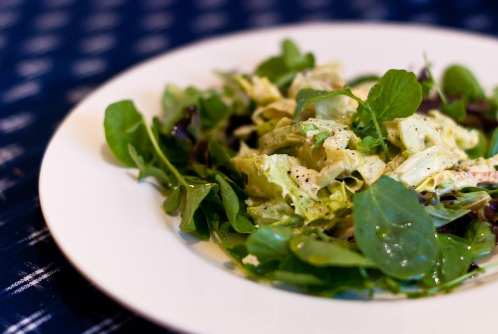 salade met landkers en gerookte kip