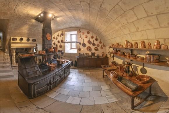 De keuken van Chateau Chenonceau (vlakbij Tours), waar Caterina de' Medici vele feestmaaltijden liet klaarmaken
