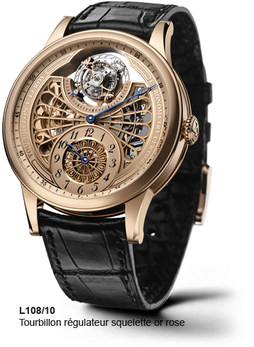 LEROY L108/10 Skeleton tourbillon regulator in pink gold