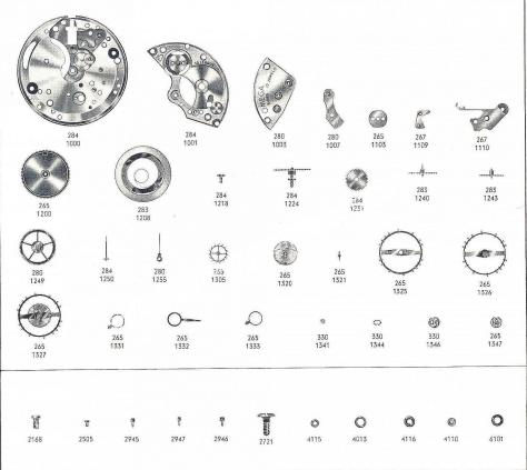 Omega 284 watch part
