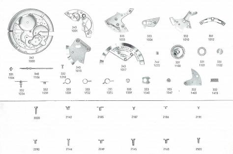 Omega 343 watch spare parts