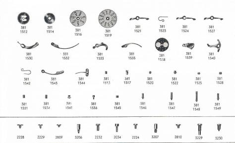 Omega 381 watch date parts