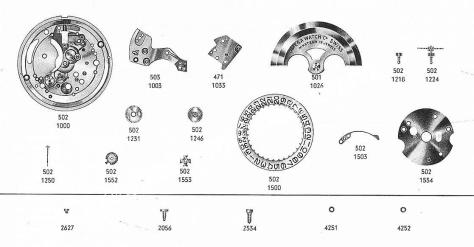 Omega 503 watch date parts
