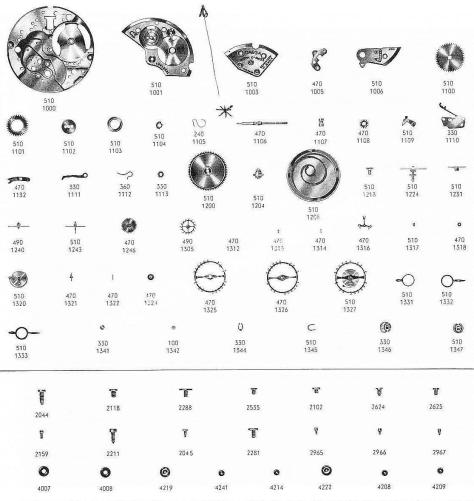 Omega 511 watch parts