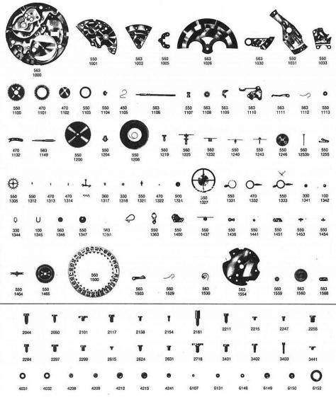 Omega 563 watch parts
