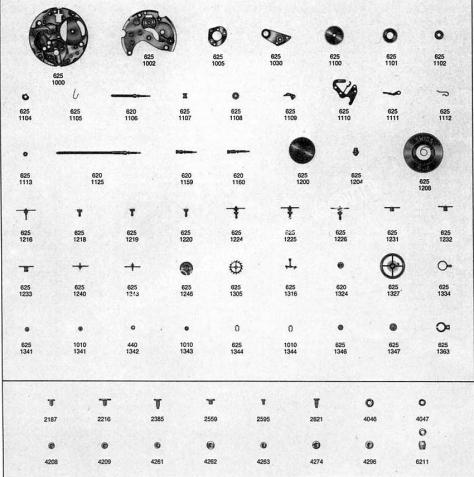 Omega 635 watch parts