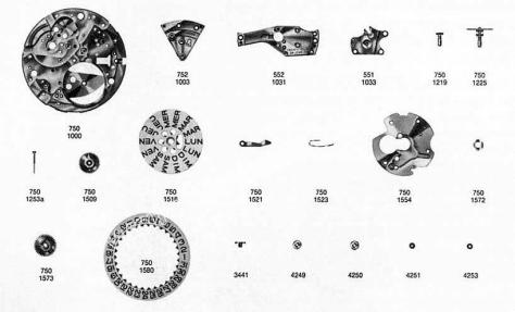 Omega 751 watch date parts