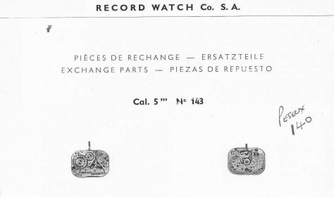 Record 143 watch movements