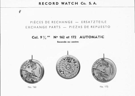Record 162 watch movements