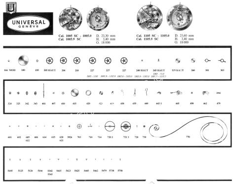 Universal 1105 9SC watch movements watch spare parts
