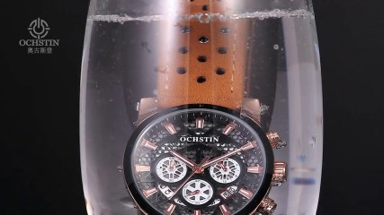 OCHSTIN Genuine Leather Quartz Skeleton Men Watches Luminous Water-Proof