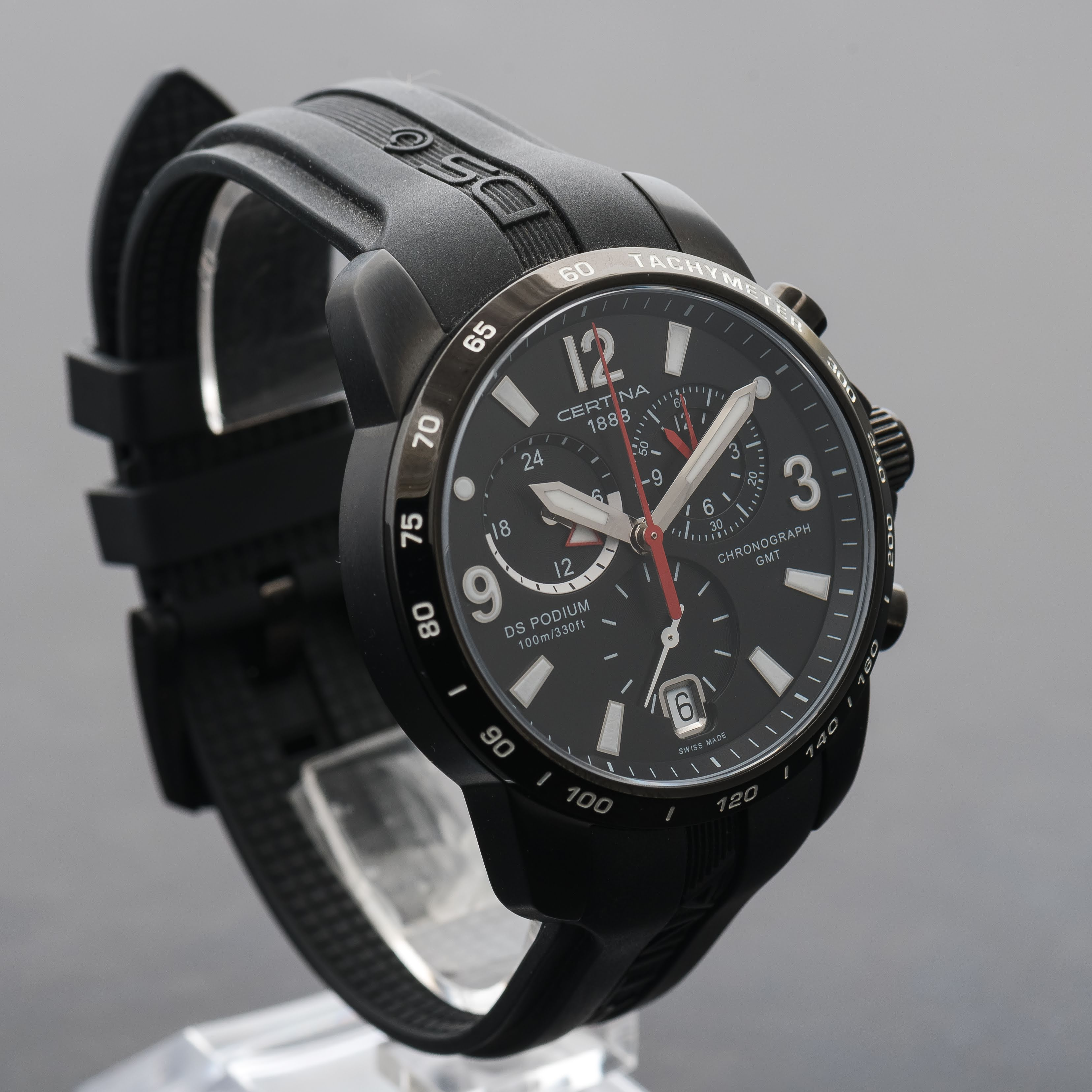 Certina DS Podium GMT Chronograph Big Size Black Dial Men's Watch C0016391605700