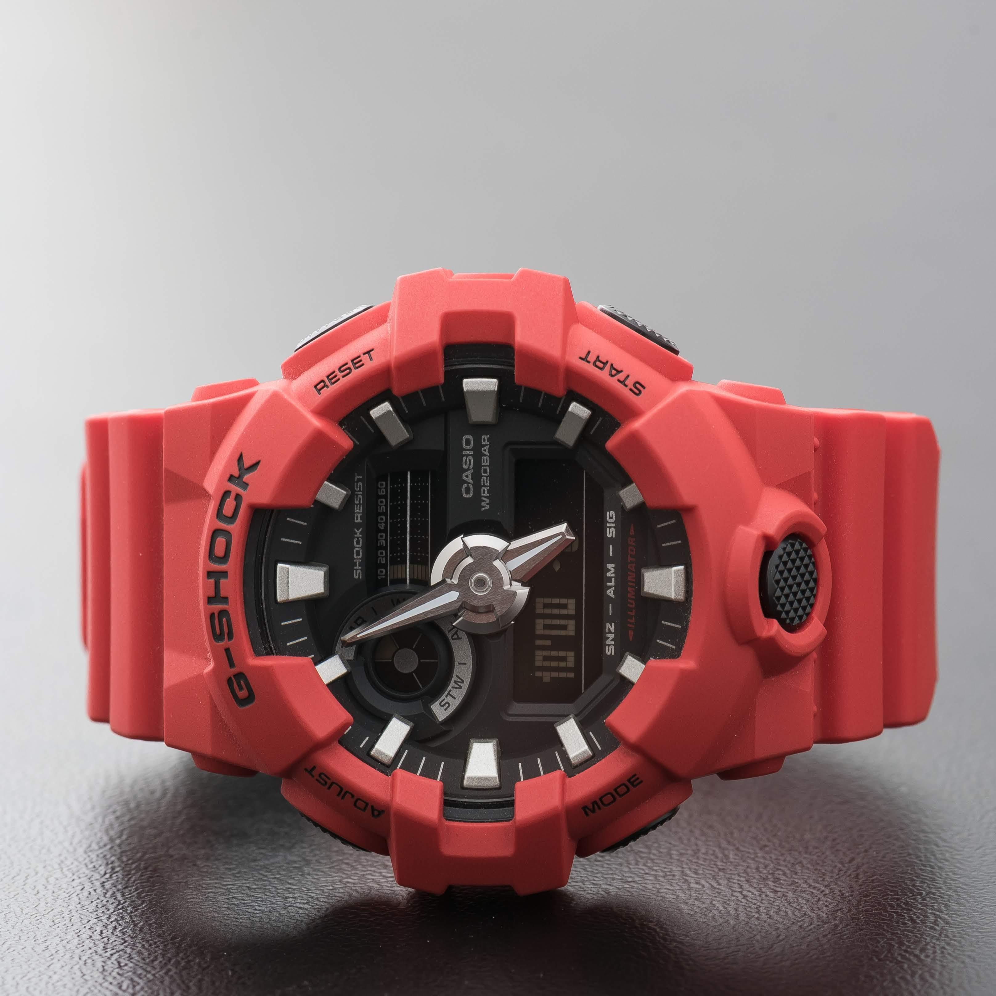 Casio G-Shock Analog Digital Red Resin World Time Stopwatch Watch GA-700-4ACR
