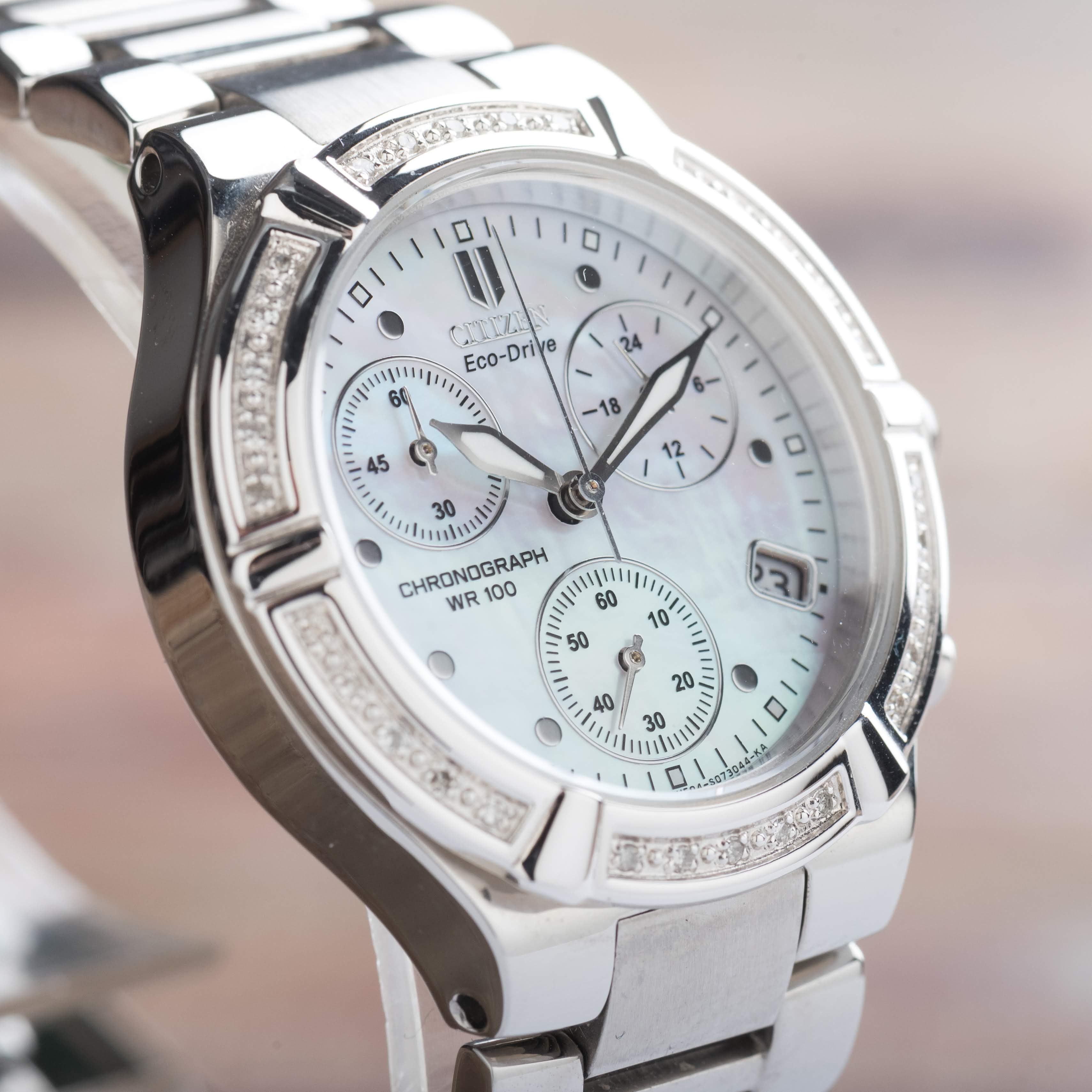 Citizen Eco-Drive Riva Chronograph Diamonds Date WR100 Women's FB1020-52D