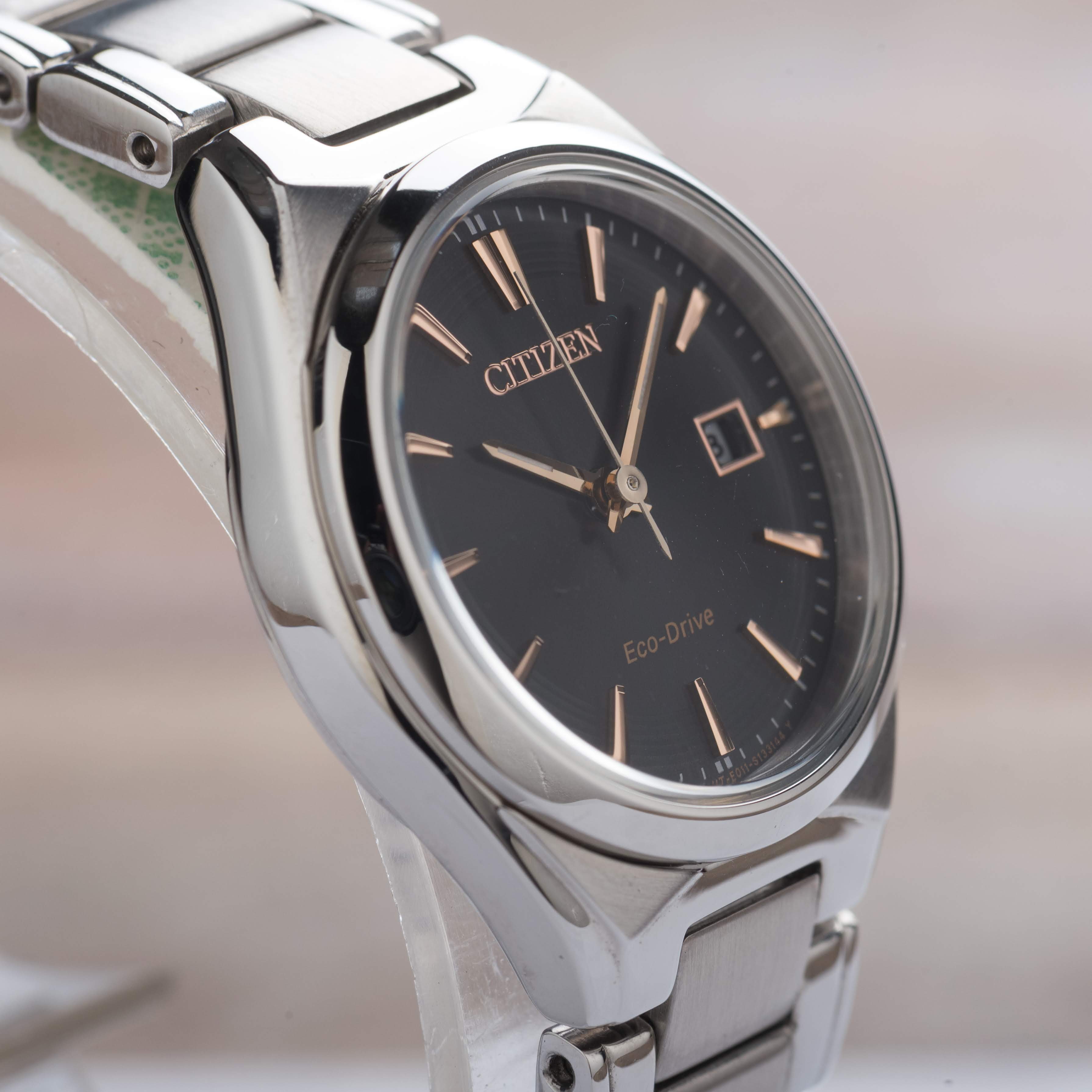 Citizen Eco-Drive Dress Ladies Grey Dial Date Stainless Steel EW1970-55H