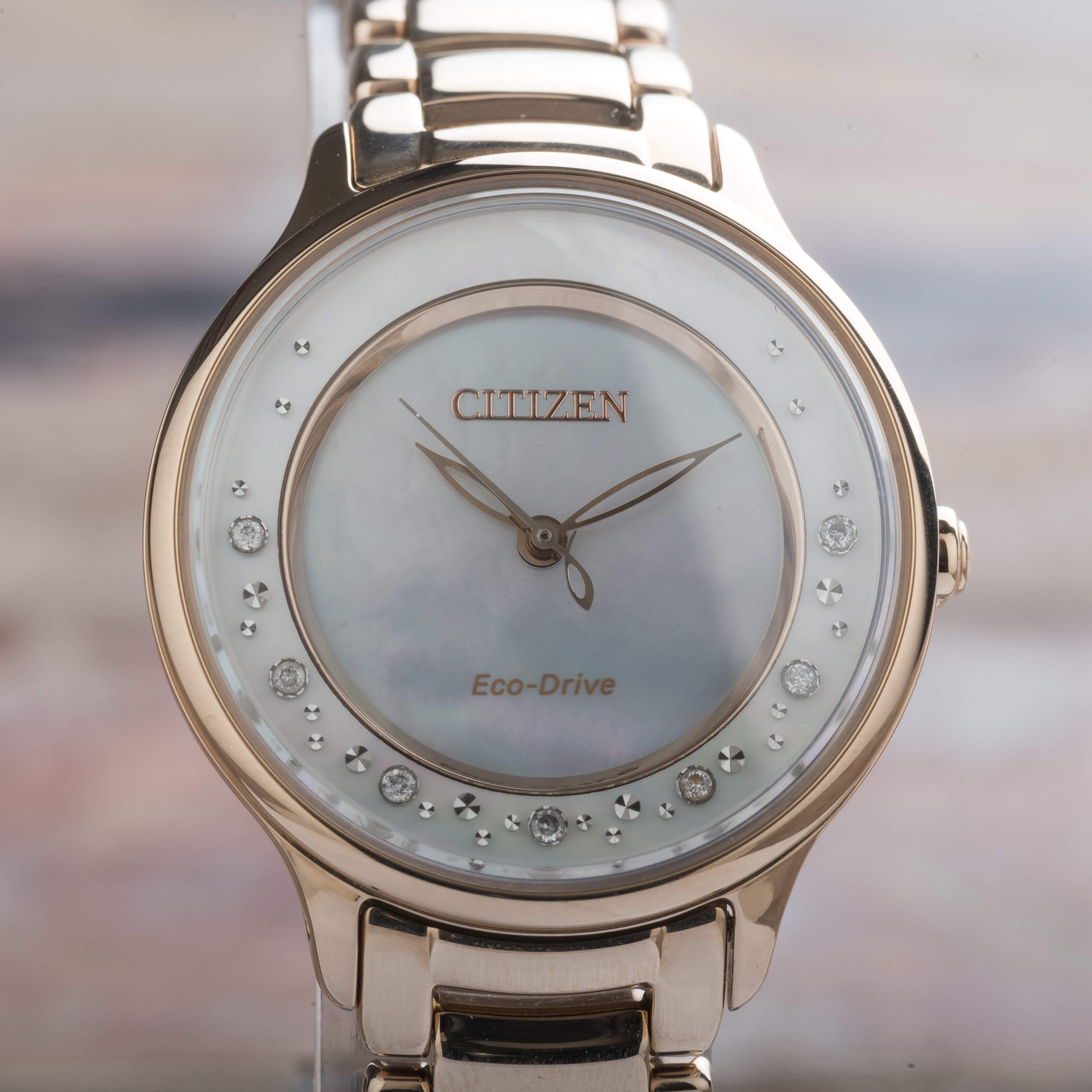 Citizen Circle of Time Eco Drive Rose Gold Tone Diamonds Ladies EM0382-86D