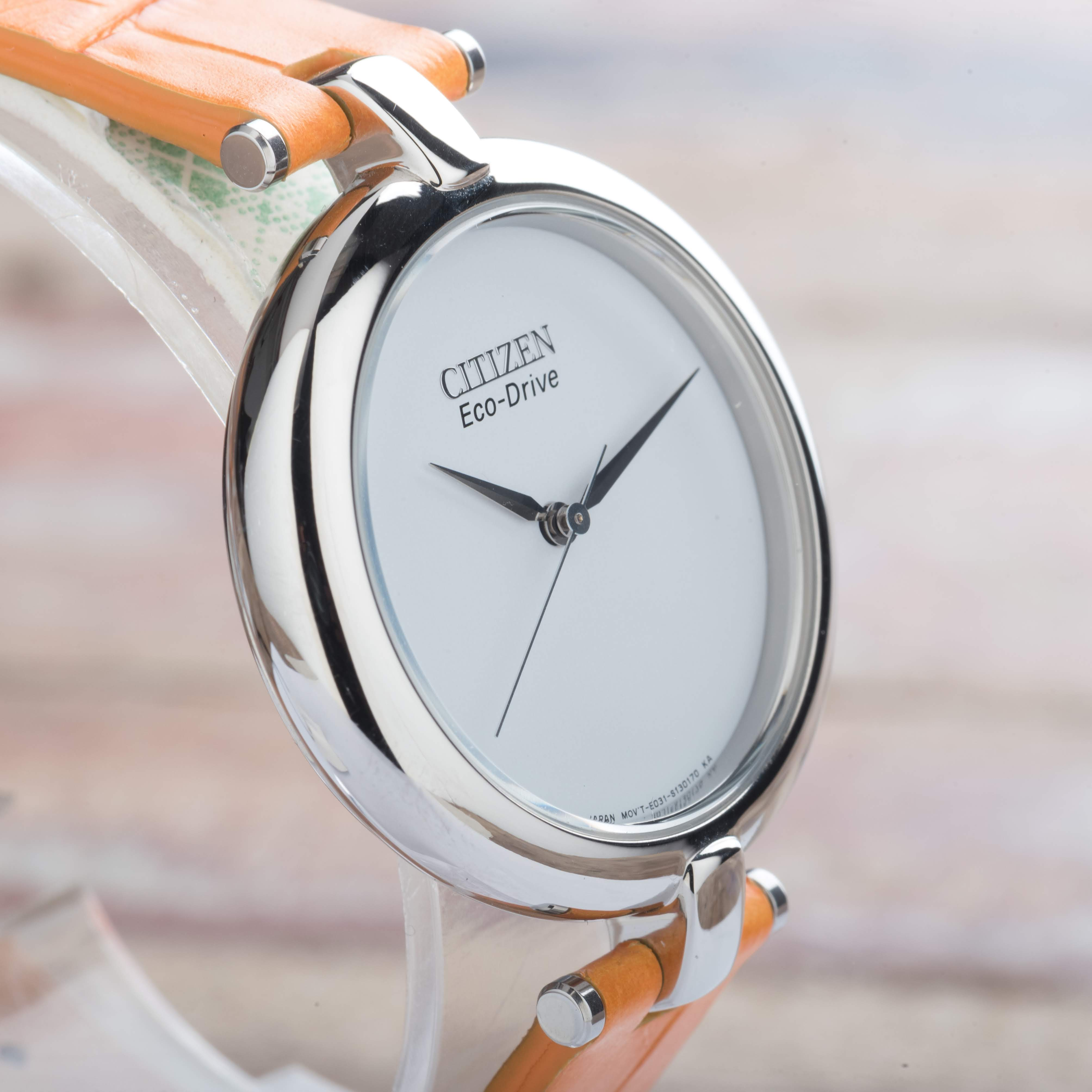 Citizen Eco-Drive Silhouette Ladies Orange Leather Strap Watch EM0250-01A