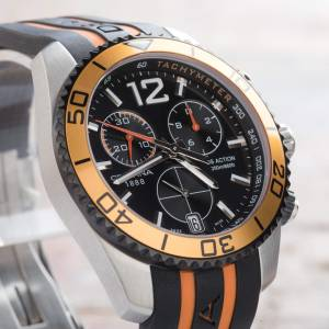Certina DS Action Chronograph Black Orange Rubber Mens Watch C0134172705701