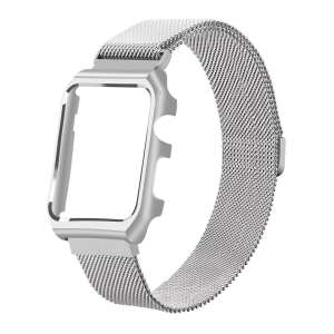 2 in 1 vervangend Apple Watch Band Milanese Loop zilver en cover roestvrij staal vervangende band voor iWatch-009