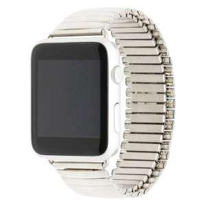 Rvs Elastische Horlogeband Band Armband met Link Adapter voor Apple Watch zilver kleurig-008