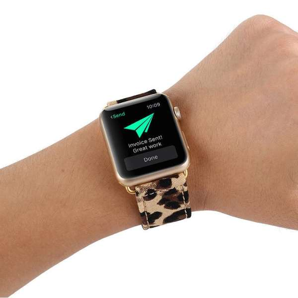 Leopard lederen bandje met klassieke gesp voor Apple Watch 42mm-001
