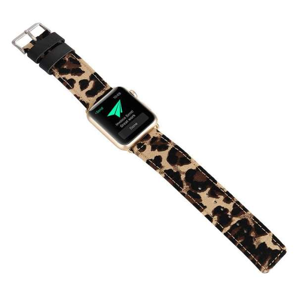 Leopard lederen bandje met klassieke gesp voor Apple Watch 42mm-002