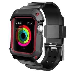 2 in 1 vervangend Siliconde Apple Watch bandje zwart - rood en cover voor Apple Watch Series 1-2-3 (38mm)_017