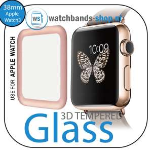 38mm full Cover 3D Tempered Glass Screen Protector For Apple watch iWatch 3 rose gold edge_011
