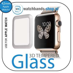 42mm full Cover 3D Tempered Glass Screen Protector For Apple watch iWatch 1 silver edge-001