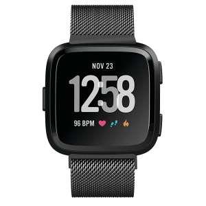 Fitbit Versa bandje milanese loop RVS zwart kleurig_004