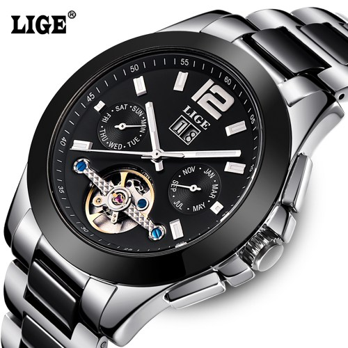 LIGE Brand Luxury Ceramic Automatic Watch for Men