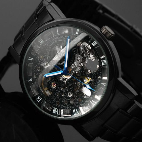 Stainless Steel Automatic Skeleton Mechanical Watch