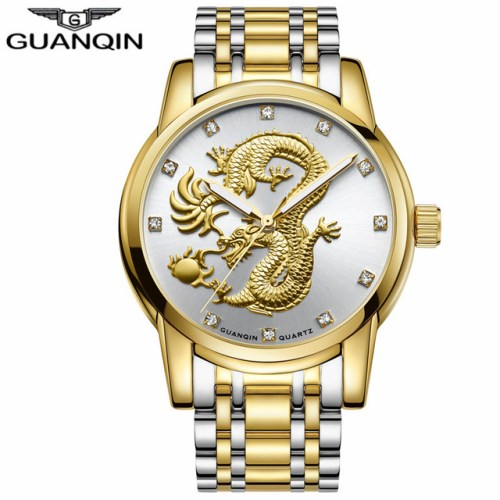 GUANQIN Men Gold Dragon Sculpture Quartz Watch