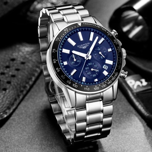 GUANQIN Men Luxury Business Stainless Steel Quartz Watch