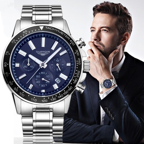 GUANQIN Men Luxury Business Stainless Steel Quartz Watch