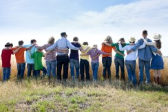 Christian Religious Family Group Prays to God Thankful Crop Farm
