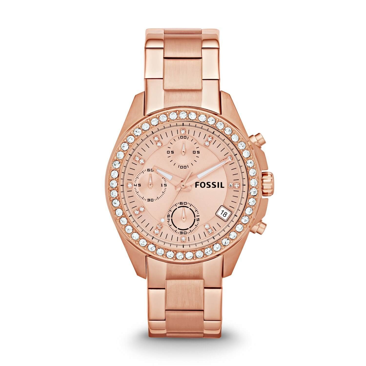Fossil Chronograph Rose Gold Dial Women's Watch ES3352