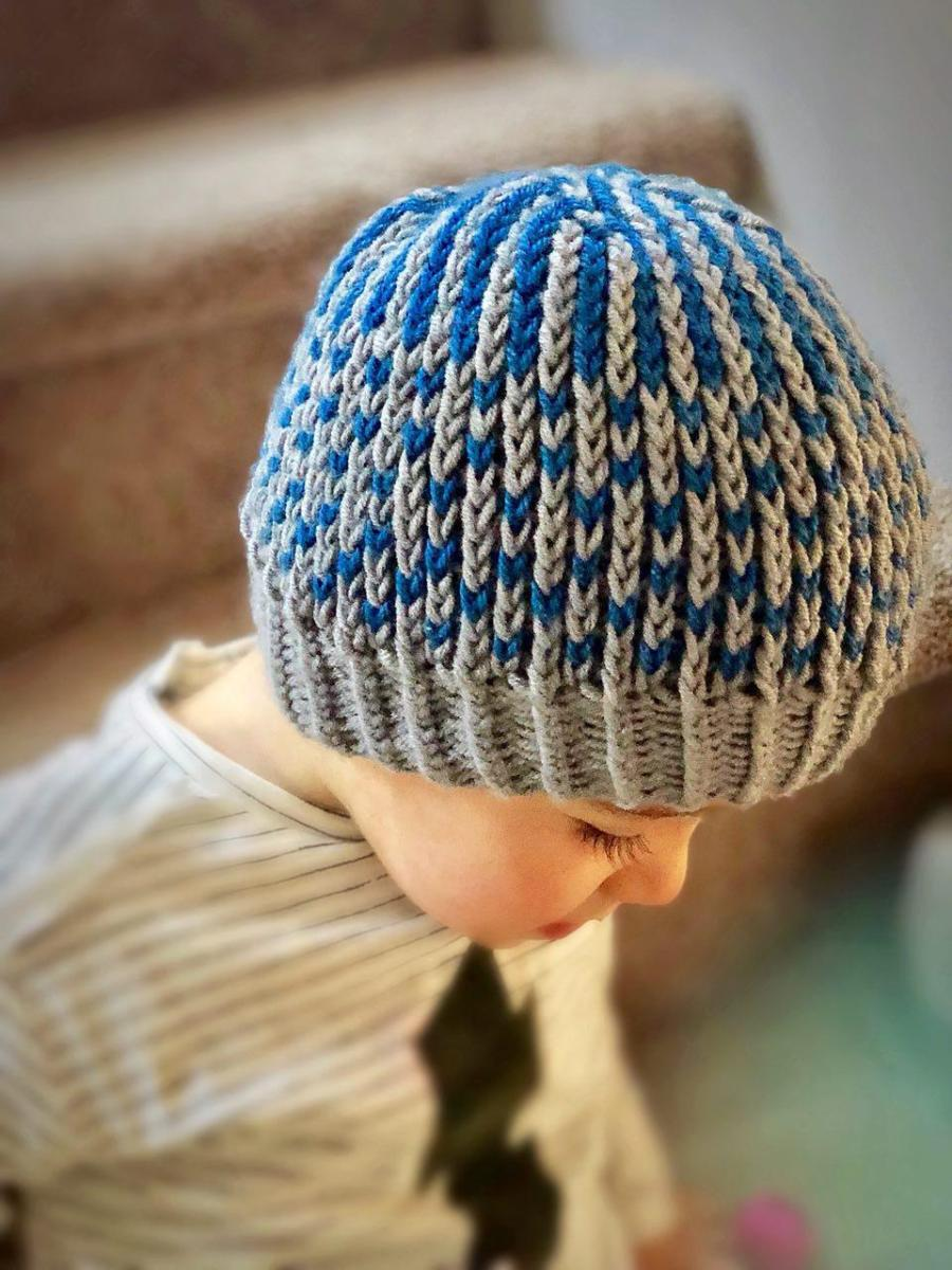 Easy two-color Brioche Rib stitch hat on circular