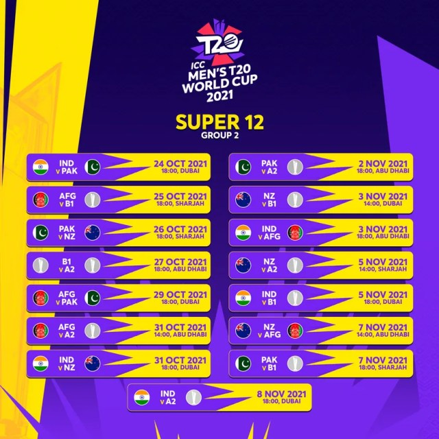 T20 World Cup Super 12 Group 2 Schedule