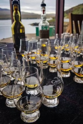 Filled glasses for a whisky tasting at Caol Ila Distillery