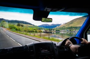 Driving along Scottish roads