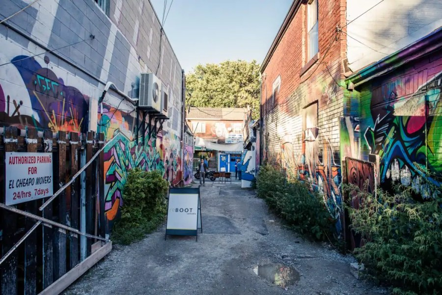 A popup music venue in a back alley at Kensington Market in Toronto.