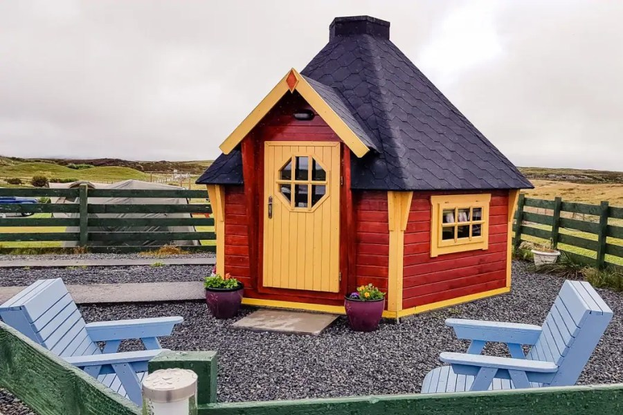 A hobbit home at Moorcroft Holidays on North Uist.
