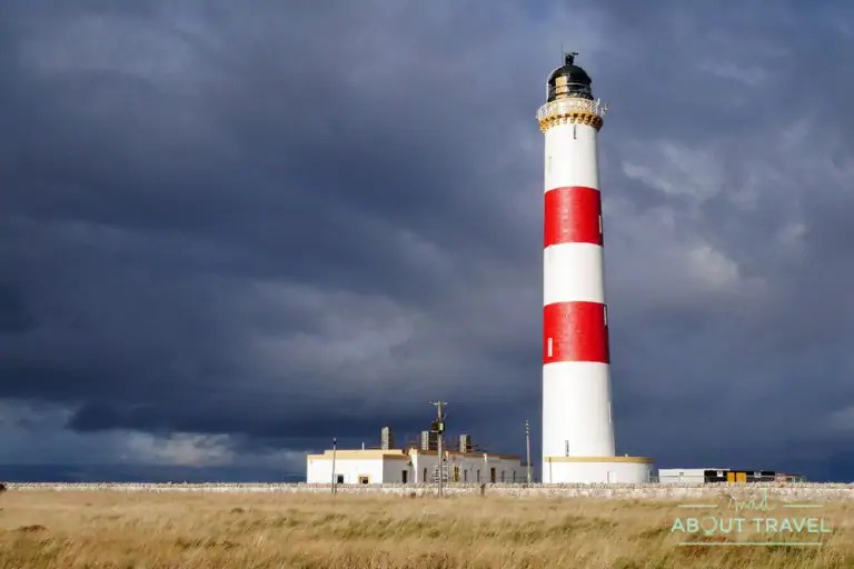 The Tarbat Ness lighthouse is located on the north west tips of the Tarbat Ness peninsula and is a popular stop along the famous North Coast 500 scenic drive in Scotland.
