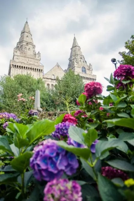 St. Machar Cathedral and big flowers at Seaton Park in Aberdeen
