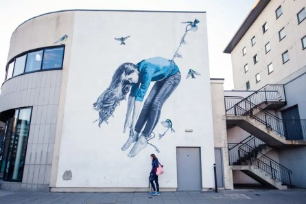 A mural near the harbour on the Nuart street art trail in Aberdeen