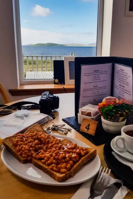 Beans on toast at the Kilbride Cafe on South Uist.